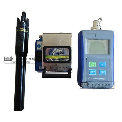 Ftth Tool Kit Optical Power Meter Fc-6s Fiber Cleaver 1mw Visual Fault Locator