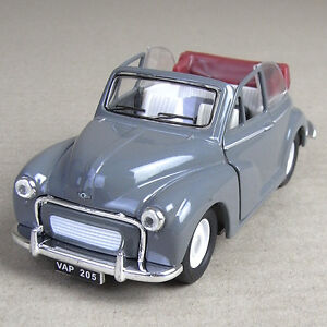 Morris Minor 1000 1956 Die-Cast Model Car Convertible 1:26 Scale Grey Top Down