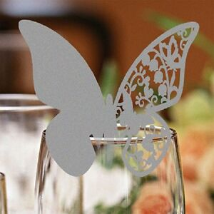 Butterfly Wedding Place Name Cards. Glass Laser Cut on Luxury Pearlescent Card