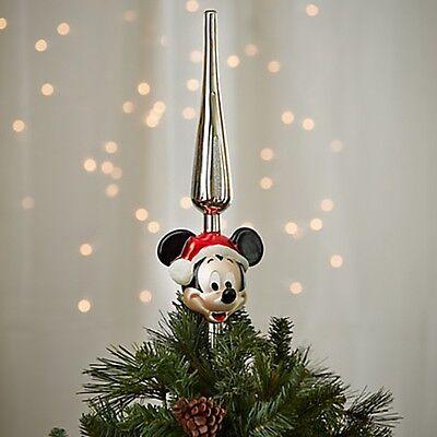 Disney Parks Santa Mickey Mouse Glass Ornament Holiday Christmas Tree Topper