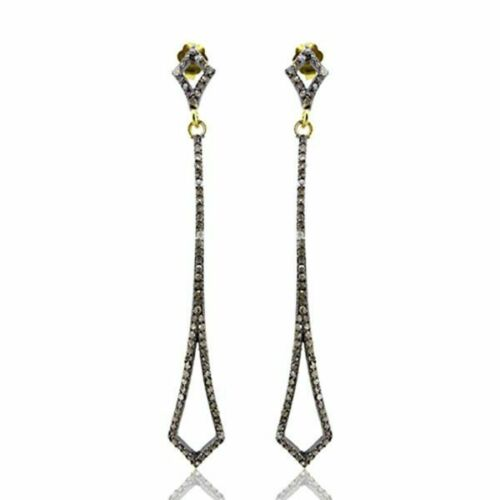 925 Silver Rose Cut Diamond Earrings Victorian Antique Look Women Dangle Jewelry