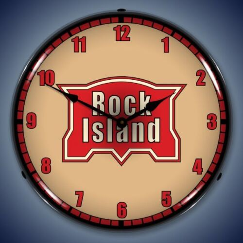 New LED LIGHTED Rock Island Railroad clock  USA made More train clocks available