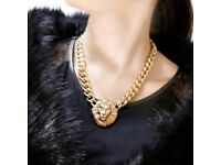 Statement Carving Lion Head Golden Necklace