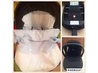 Silver cross simplicity car seat, isofix base and Footmuff