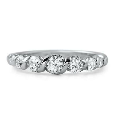 0.75ct Round Cut Diamond Wedding Ring Band Braided Design 14k White Gold Finish
