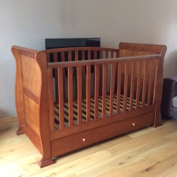 Babies R Us Dark Wood Sleigh Cot Bed