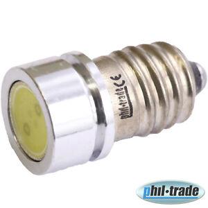 SMD LED E10 Lampe Schraubgewinde 6V Volt Xenon weiss Fahrrad COB Typ 1W Power