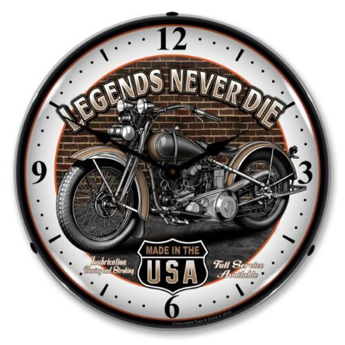 NEW LEGENDS NEVER DIE MOTORCYCLE BIKE RETRO L.E.D.  LIGHTED CLOCK - FREE SHIP*