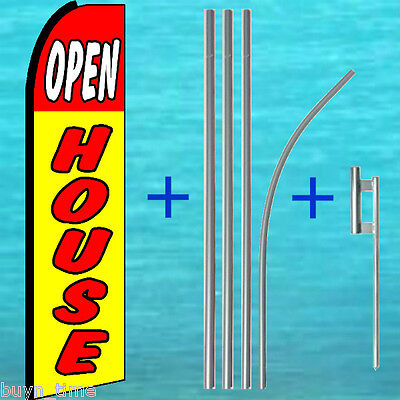 Open House Flutter Flag Pole Mount Kit Tall Feather Swooper Banner Real Estate