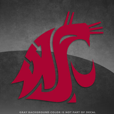 """Washington State Cougars Logo Vinyl Decal Sticker - 4"""" and Up - More Colors"""