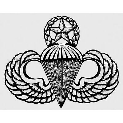 US ARMY AIRBORNE MASTER PARACHUTE WINGS/JUMP MASTER STICKER !!