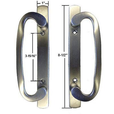 Glass Patio Door Dummy Handle Set Mortise Type Satin Nickel 3-15/16