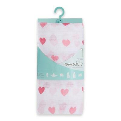Aden & Anais Baby Girl Pink Heart Muslin Blanket : Muslin Swaddle Blankets