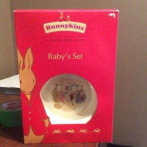 Brand new 2pc. Bunnykins baby dish set by royal Doulton