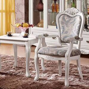 ~$&New Ivory White Wooden Armchair Dinging High Back Chair Fabric Kellyville The Hills District Preview
