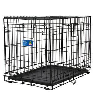"36"" WIRE DOUBLE DOOR DOG / PUPPY CRATE: COLLAPSABLE W/ DIVIDER"