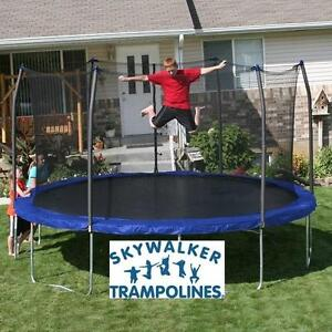 NEW SKYWALKER 15' TRAMPOLINE - 113277869 - SKYWALKER TRAMPOLINES - WITH ENCLOSURE AND SPRING PAD - BLUE JUMPING OUTDOOR