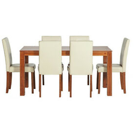 Newton Walnut Stain Dining Table & 6 Cream Chairs
