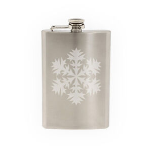 Snowflake-Pattern-6-Winter-Art-Christmas-Decoration-8-oz-etched-flask