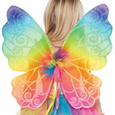 Kinder Regenbogen Fairy Wings Mädchen Märchen Fantasie Kostüm - Bogen Märchen Kostüme Zubehör