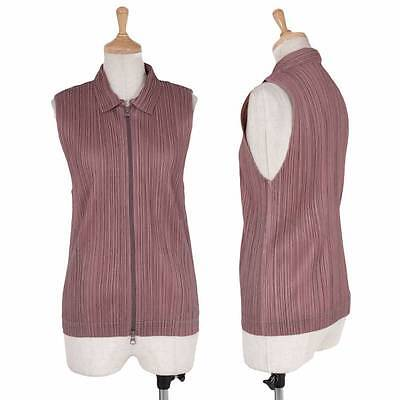 PLEATS PLEASE Double zip pleated vest Size 3(K-29752)