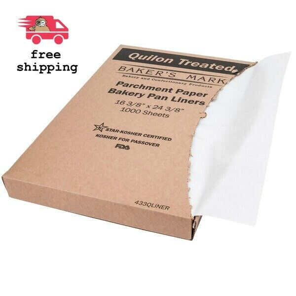 "1000/Case - Bakery Pan Liner Sheet Quilon Coated Parchment Paper 16"" x 24"""