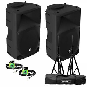 Pair of Mackie Thump 15 V3 Powered Speakers with Stands, Stand Carry Bag & Leads