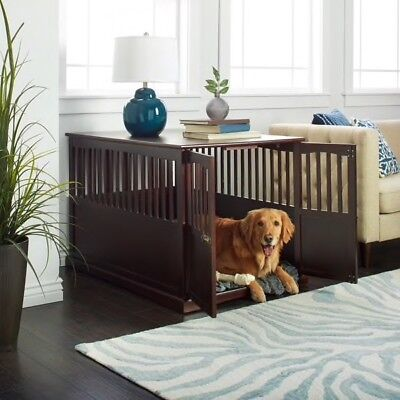 Brown Wooden Extra Large Pet Dog Cat Crate Kennel Cage End Table Furniture Bed
