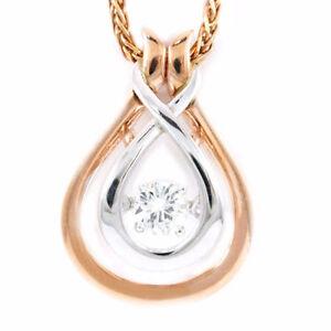 "14k Rose/White Diamond Pendant (0.16 ct ""dancing diamond"") #2443"