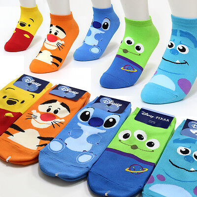 5 Pairs Disney Character Socks Girls Womens Big Kids Cute Monster Cartoon Socks