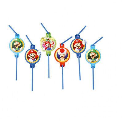 Super Mario Party Strohhalme Trinkhalme Kindergeburtstag Jungen Tisch (Super Mario Dekorationen)