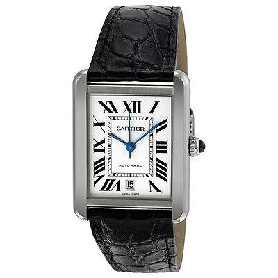 Cartier Tank Solo XL Automatic White Dial Stainless Steel Mens Watch W5200027