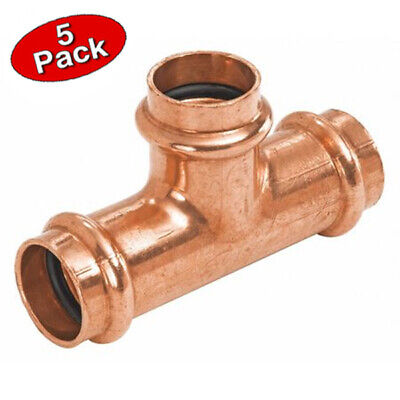 Press 1-12 Inch Copper Press Equal Tee Plumbing Fitting- 5 Pack