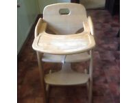 Mamas and Papas wooden high chair
