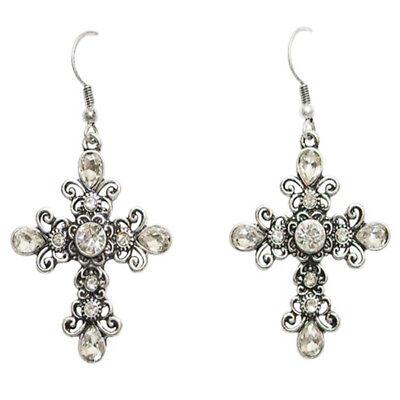 Gothic Garden Cross Pierced Earrings Antique Silver-Tone & Clear Rhinestones