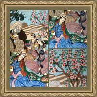 Silk & Wool Persian Tableau Rug, Hand Woven, Khayyam Design