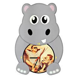WALL CLOCK CUSTOMIZED PRINT PERSONALIZED PHOTO ANIMAL IPPO HIPPOS