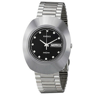 Rado Diastar Black Dial Polished Stainless Steel Mens Watch R12391153