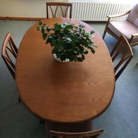 G Plan Dining Table and four G Plan chairs.