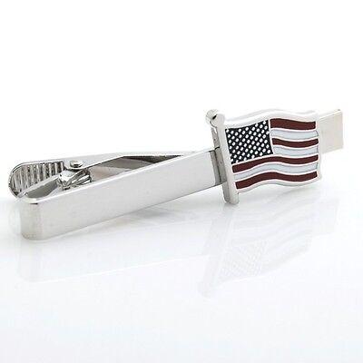 American Flag Usa Patriotic Tie Clip Silver Black Wedding Bar Clasp