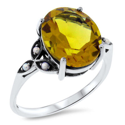 YELLOW LAB CITRINE ANTIQUE DESIGN .925 STERLING SILVER RING SIZE 8,        #383