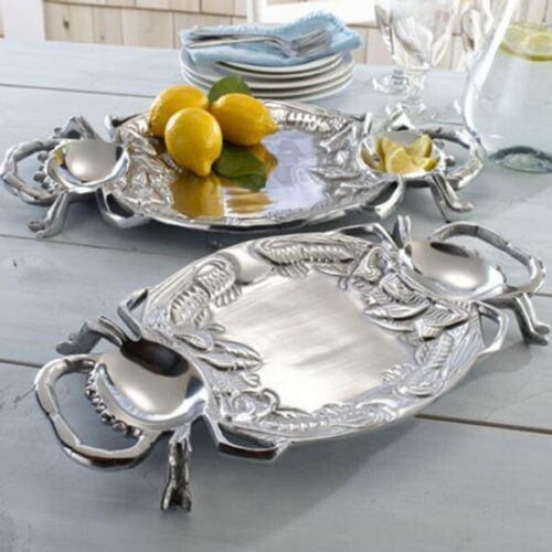 Silver Crab Shaped Sectioned Serving Platter S17F New