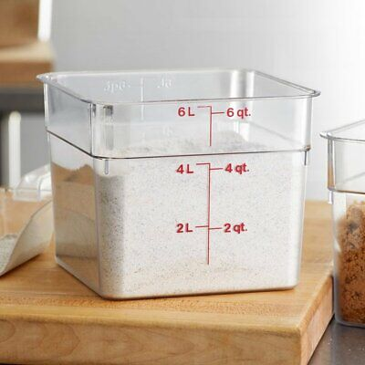 Large Cambro Food Storage Containers Clear Polycarbonate Square 6 Quart With Lid