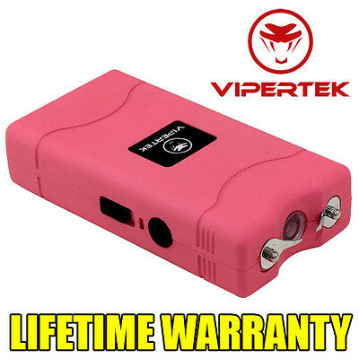 VIPERTEK PINK VTS-880 390 MV Mini Rechargeable LED Police Stun Gun + Taser Case