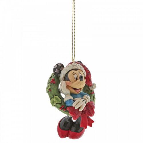 Disney Traditions Minnie Mouse with Wreath Christmas Hanging Figurine
