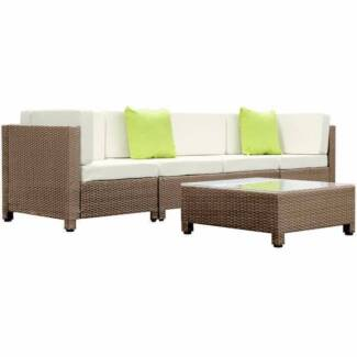 5 pcs Brown Wicker Rattan 4 Seater Outdoor Lounge Set Beige