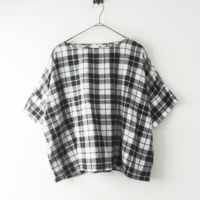 Fillil Black & White Check Cotton Tee Top One Size as New