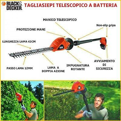 Tagliasiepi telescopico a batteria GTC1843L20 B&D 18v litio allungabile snodato