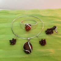 Amber/Silver Jewelry Sets