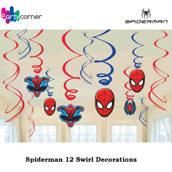 SPIDERMAN PARTY SUPPLIES FOIL SWIRL HANGING DECORATIONS KIT OF 12 PIECES
